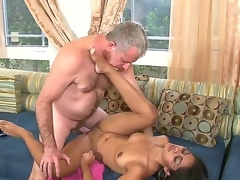 All natural Latina black haired beauty Ruby Rayes seduces her mature gray step daddy