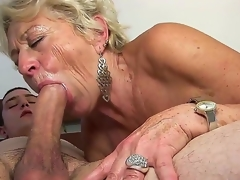 Mature blond slut Malya enjoys younger stud in nasty hardcore sex session