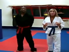 Horny golden-haired milf is taking karate lessons and acquires horny with her master