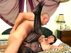 Aged lady with hairy muff Margo T. can not calm her passion and seduces young neighbor