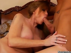 The voluptuous milf Darla Crane with a beautiful natural boobs makes the deepthroating for her son Billy Hart, then he professionally licks her hot pussy and they fuck very passionately.