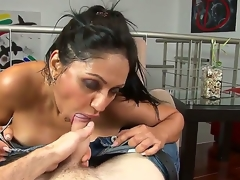 Breathtaking Latina hottie with cool juggs and admirable natural juggs has delight with her new boyfriend in this porn video. She strips before him and starts giving a head.