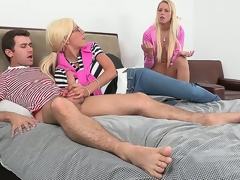 Sexy blonde mother, Puma Swede, overheard her daughter, Vanessa Cage, fucking with her friend, then decided to step in and educate her daughter