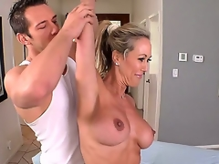 The hottest milf Brandi Love is getting the real pleasure and delight from the massage that the skillful man is doing over her body  massage and also the hard fuck
