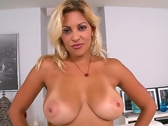 Jazmin is a sexy thick milf with a booty thats greater quantity then a handful. She receives home with her new lover and takes off her clothes to demonstrate imposing tits.