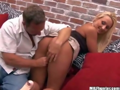 Shes a lovely blond-haired MILF in mini skirt. Sexy assed woman in pink thong pants gets her shaved pierced bawdy cleft finger fucked from behind by MILF Hunter. He loves her tight hole!