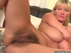 Soccer moms with big tits and curly pussy masturbate
