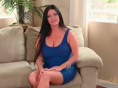 Curvy milf Sammy Brooks in a tight blue dress