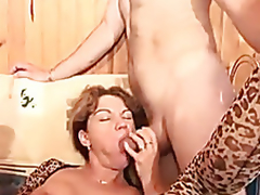 French mature in a hard anal Three-some