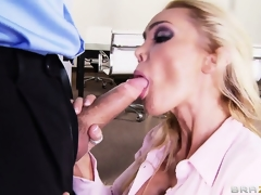 Busty blonde secretary is eager to bare her breast, suck cock and get screwed