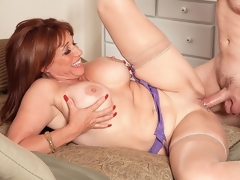 In this scene, 52-year-old Sheri Fox leaves no doubt about what this babe wants.I desire you to fuck that ass, this babe says as this babe bends over and spreads it, teasing the stud whos been sent to fuck her. Have I got an booty for you!From the start, Sheri is wearing a purple bra, nylons and a purple garter but absolutely no panties, so when this babe bends over, we can see the booty that this stud is about to fuck. But first, hes going to have his cock sucked (all the way, as Sheri takes him right down to his balls) and then hes going to fuck..