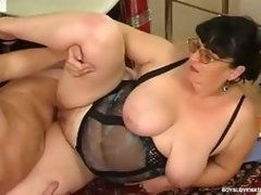 Chubby matured honey teasing a hung security to win his mint pain load of shit