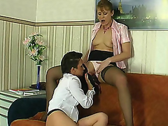 Skilful chick stretching older hottie